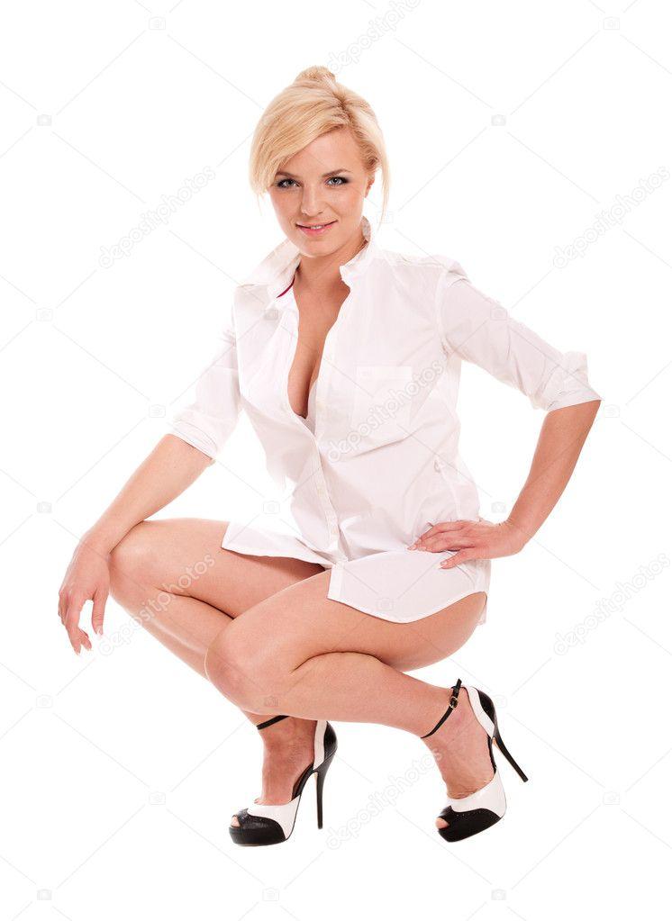 Сексуальная блондинка в белой рубашке фото 268-934