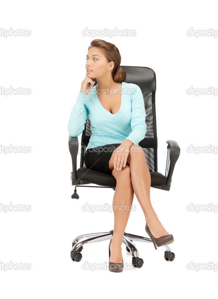 Young Businesswoman Sitting In Chair Stock Photo 169 Syda