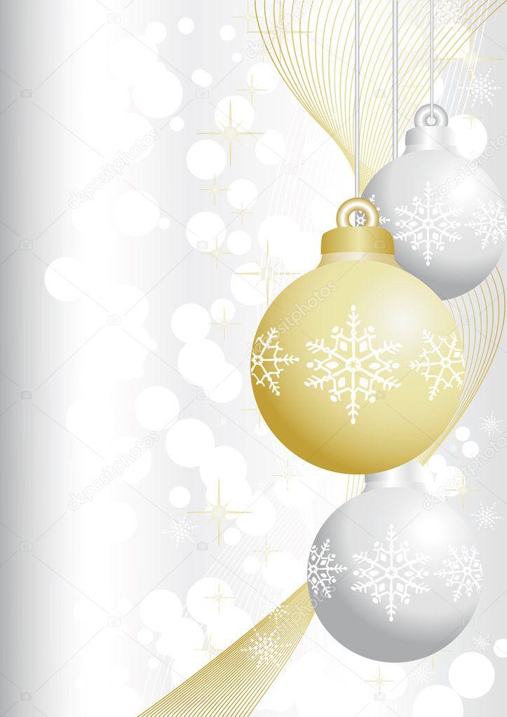 Silver and gold christmas balls — Stock Vector