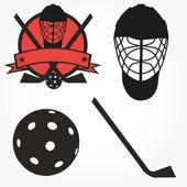 vektorový florbalové florbal hokej sada ikon