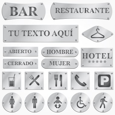 Vector silver plates and signboards with text