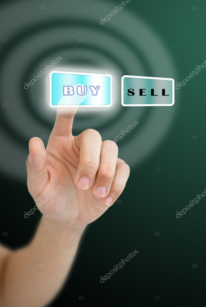 0fd06f9c09fb рука нажав кнопку Купить с волновой эффект фон — Стоковое фото ...