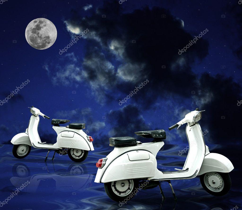Retro scooter parking on wet floor