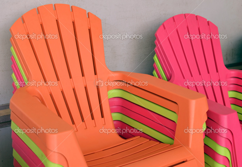 Orange,electric Pink And Chartreuse Lightweight Plastic Patio Chairs U2014  Photo By Wimbledon