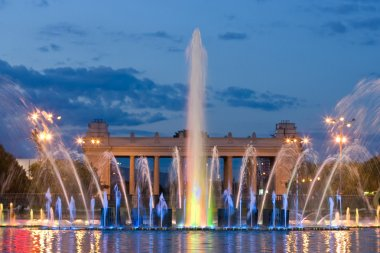Colorful light fountain in Moscow Gorky park