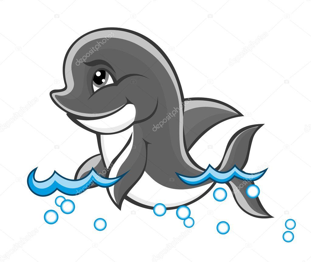 niedliche Delfin — Stockvektor © Seamartini #7396523