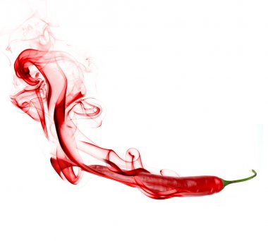 Chilly peppers with red smoke over white background