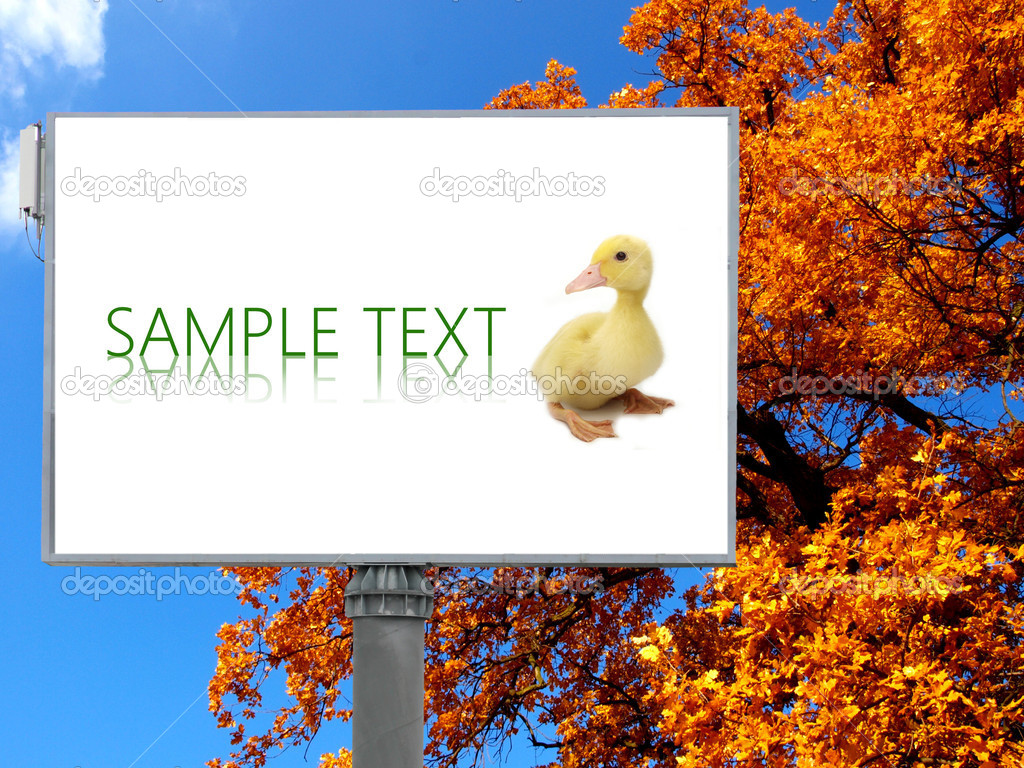 Big billboard with autumn background