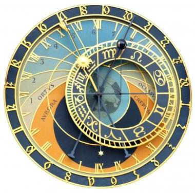 Astronomical clock isolated on white