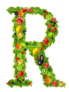 Fruit and vegetable letter r