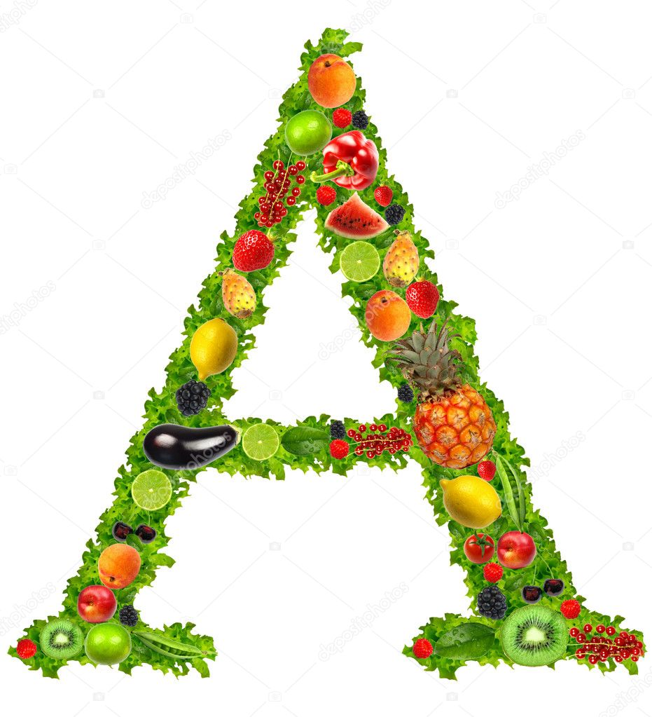 Fruit and vegetable letter a