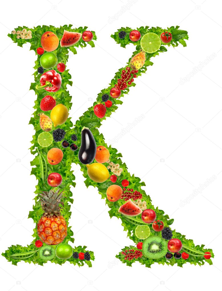 Fruit and vegetable letter k