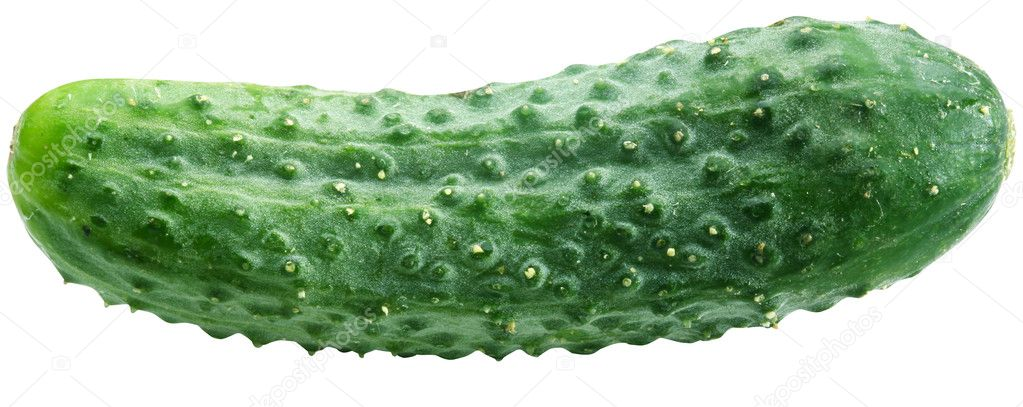 Image of cucumber on white background. The file contains a path