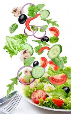 Flying vegetables - salad ingredients.