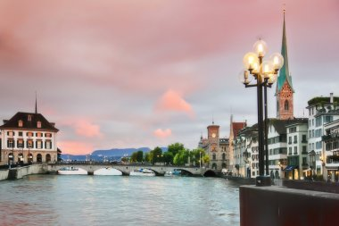 Panorama of evening Zurich