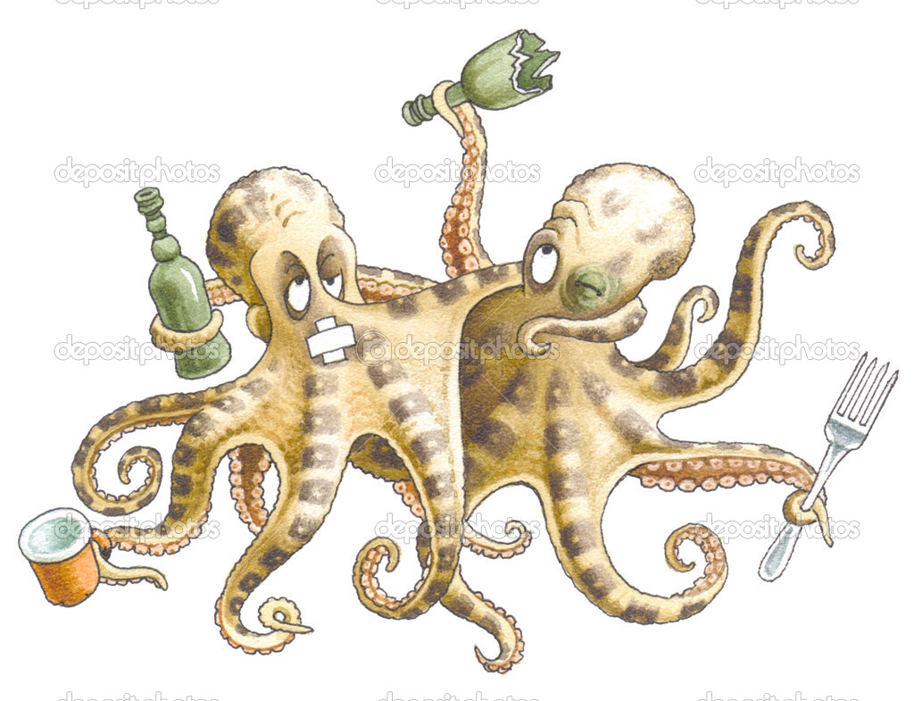 Drunk friends-octopuses left restaurant