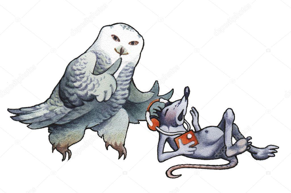 Polar owl and mouse