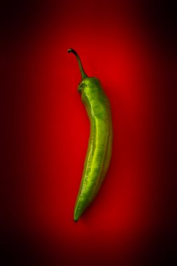 Hot green pepper on a red background