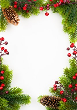 Christmas frame with fir and Holly berry on old paper background