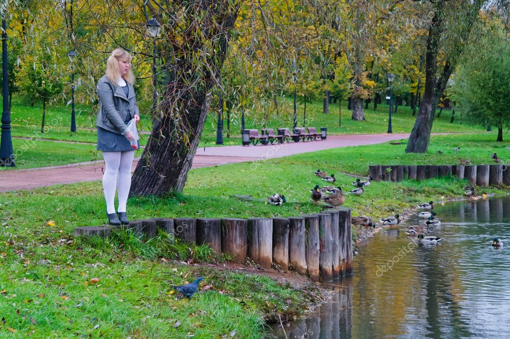 The schoolgirl of feeding the ducks on the pond, autumn park