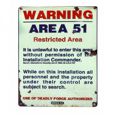 Vintage Area 51 warning sign isolated over white stock vector