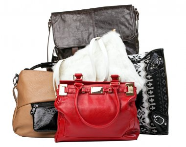 Various bags over white, with clipping path