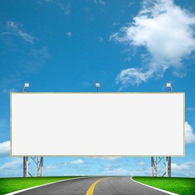 Highway and blank billboard