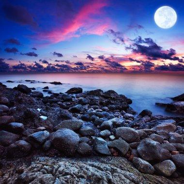Full moon fantasy seascape