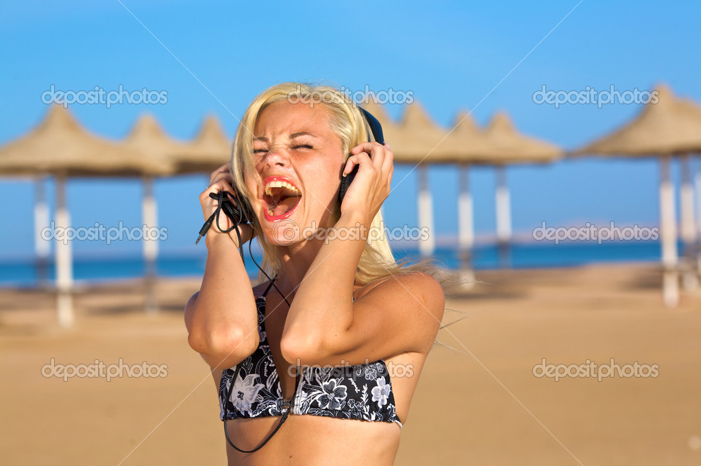 Woman singing loudly