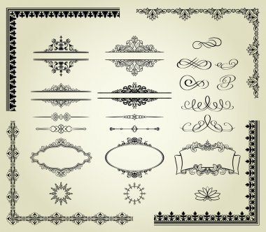Include labels, borders, frames, etc. Could be used for page decoration, certificate, etc stock vector