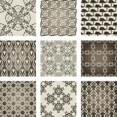 Set of 9 seamless patterns.