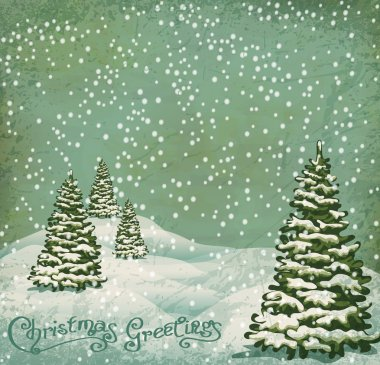 Vector vintage postcard with Christmas trees, snow