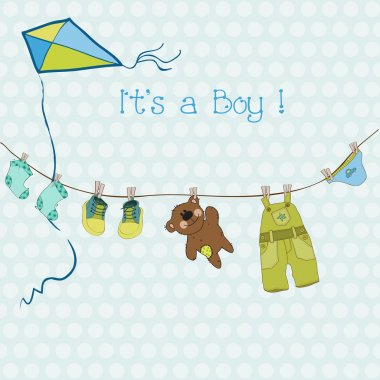 Baby Boy Shower or Arrival Card with place for your text