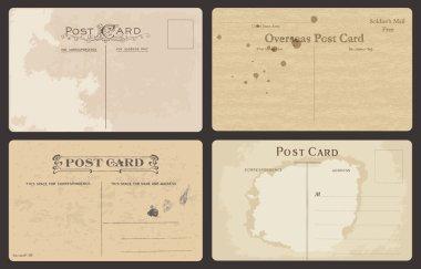 Set of Antique postcards in vector clip art vector