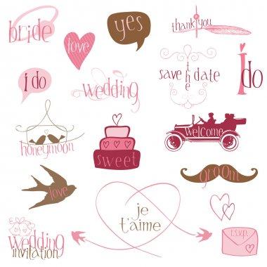 Romantic Wedding Design Elements -for invitation, scrapbook