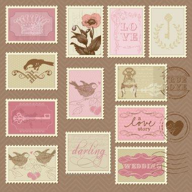 Retro Postage Stamps - for wedding design, invitation