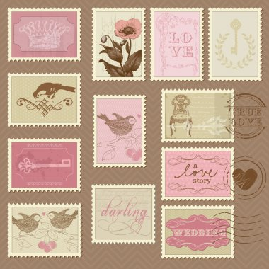 Retro Postage Stamps - for wedding design, invitation