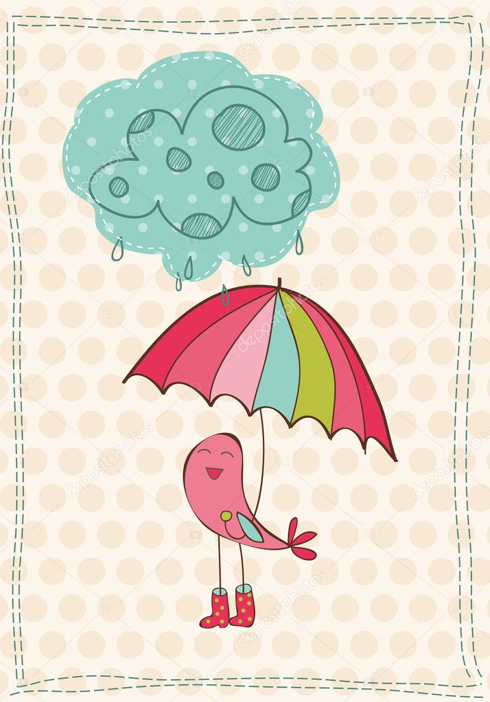 Autumn Card with bird in rain boots - for scrapbook, design