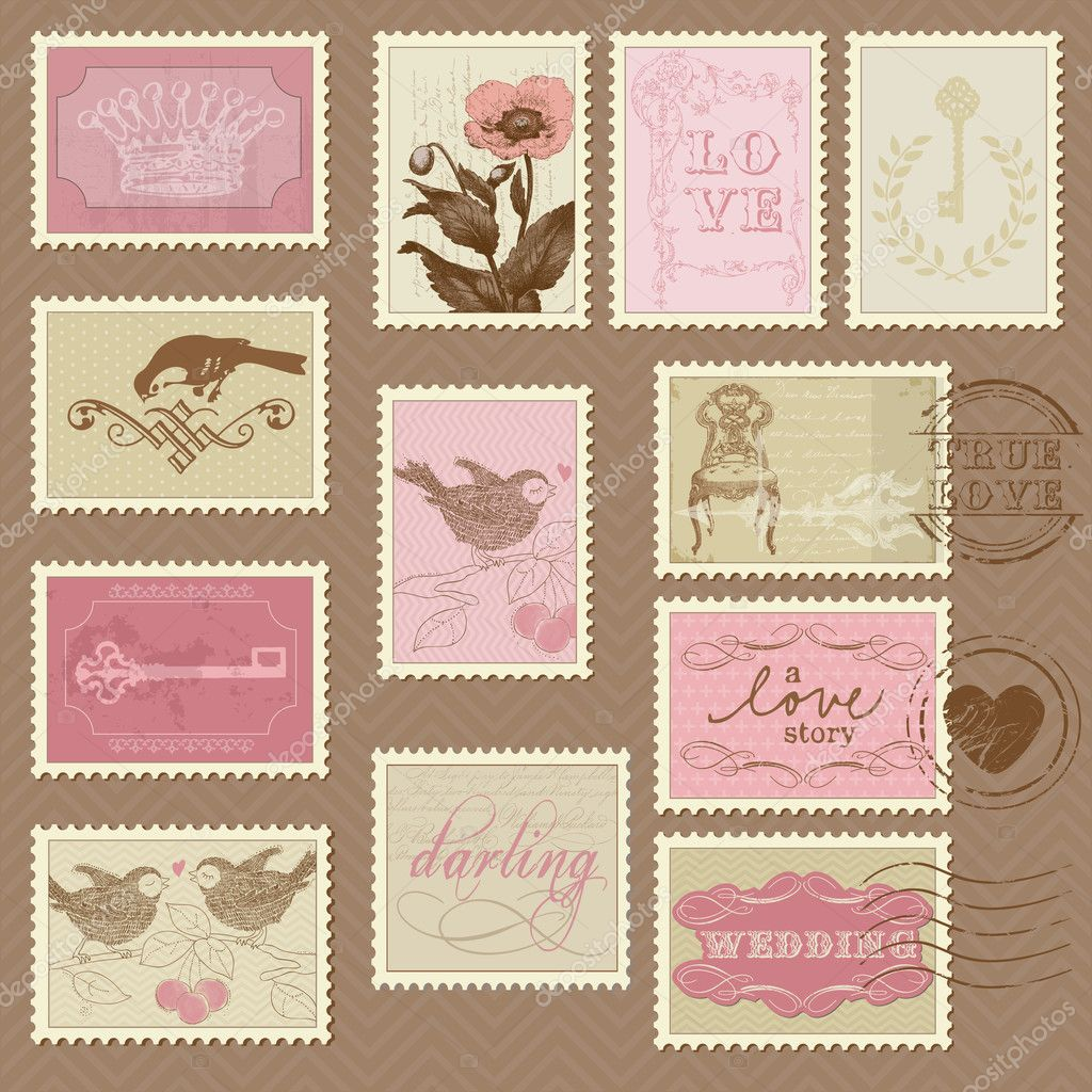 Retro Postage Stamps for wedding design invitation Stock