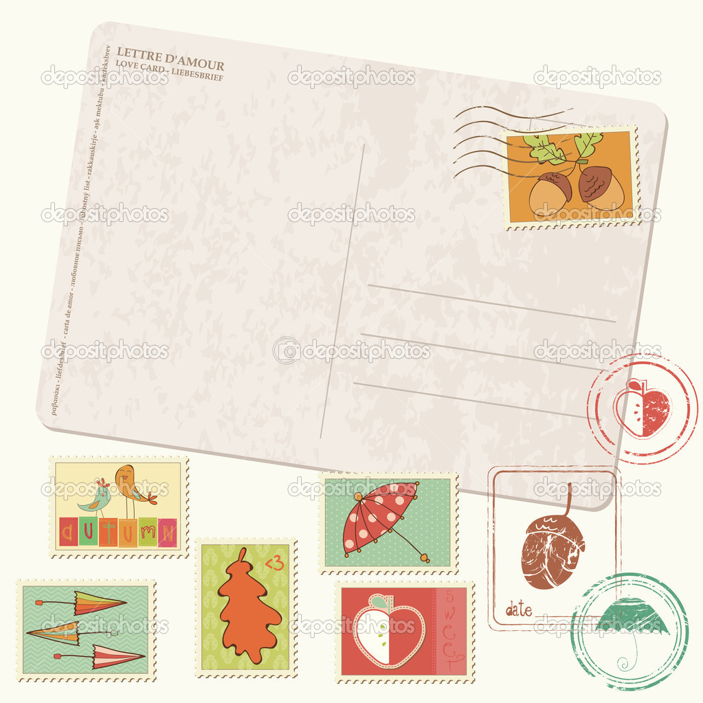 Vector autumn Postcard with stamps - set of beautiful autumn stamps