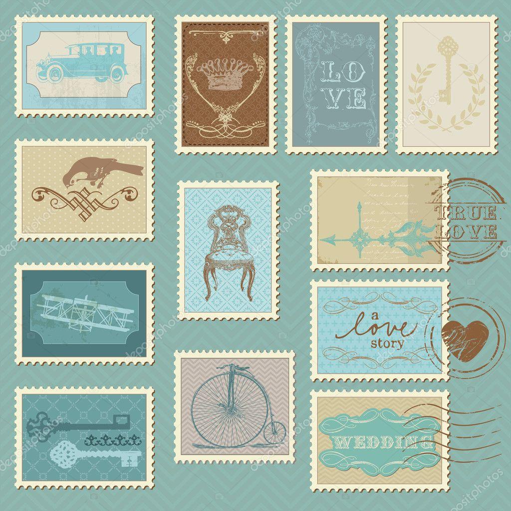 retro postage stamps - for wedding design, invitation — stock, Wedding invitations