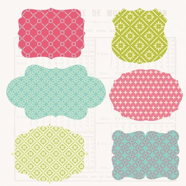 Vintage Colorful Design elements for scrapbook - Old tags