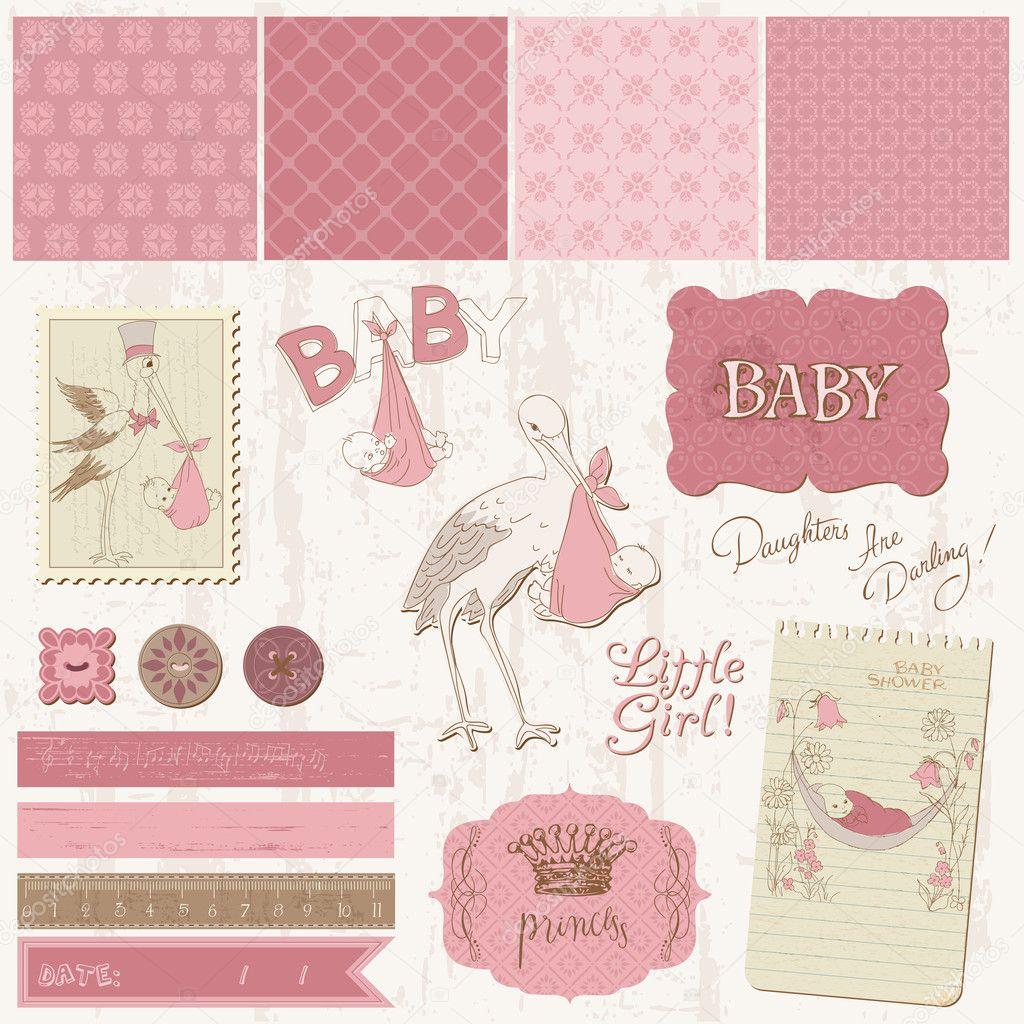 How to scrapbook for baby girl - Scrapbook Vintage Design Elements Baby Girl Announcement Stock Vector 7562965