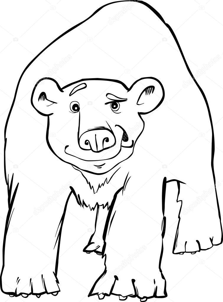 cartoon illustration of funny polar bear coloring page vector by izakowski - Polar Bear Coloring Pages