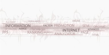 Words in a wordcloud related to SEO