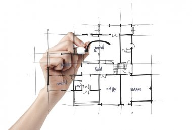 Architect drafting a house