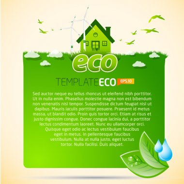 Green eco template with house icon