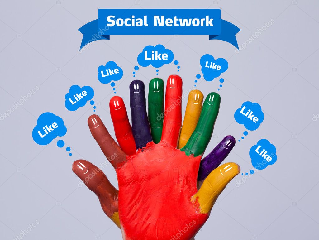 Colorful happy finger smileys with social network sign and like