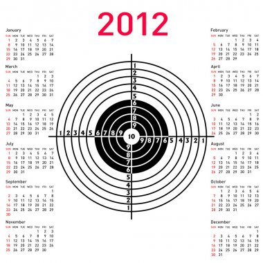 Calendar with target for shooting practice at a shooting range w