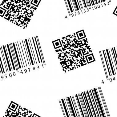 Barcode and qr-code. Seamless wallpaper.